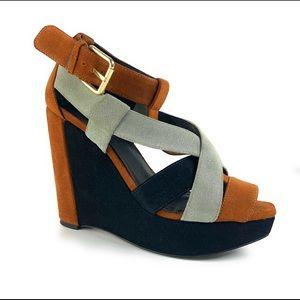 Pour La Victoire Wedge Strappy Peep Toe Sandals